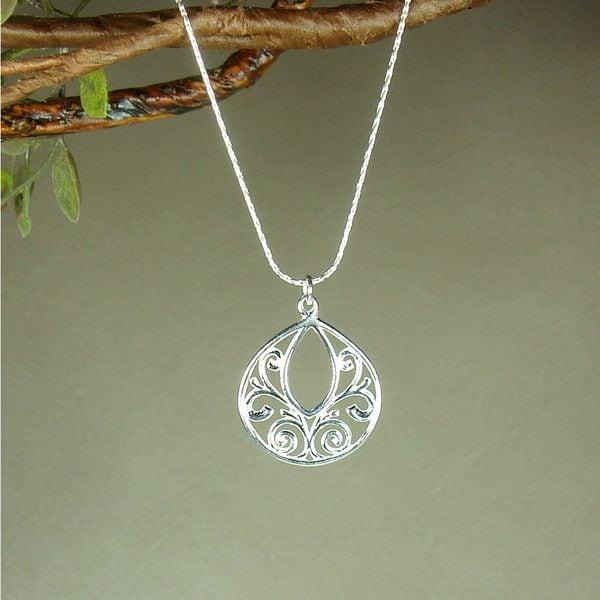Handmade Jewelry by Dawn Fancy Filigree Teardrop Dainty Sterling Silver Necklace (USA)