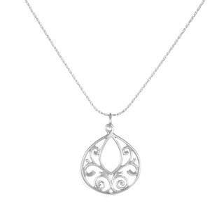 Handmade Jewelry by Dawn Fancy Filigree Teardrop Dainty Sterling Silver Necklace (USA)
