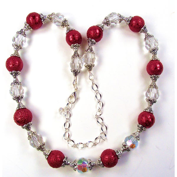 Silverplated Deep Red Bumpy Glass Pearl Wedding Jewelry Set
