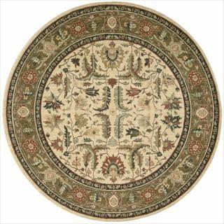 Living Treasures Ivory Khaki Wool Rug (5'10 Round)