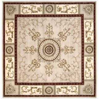 Nourison Hand-tufted Versailles Palace Beige/Red Rug (8' x 8') Square