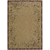 Cambridge Flowering Vines Beige/Red Rug (7'9 x 10'10)