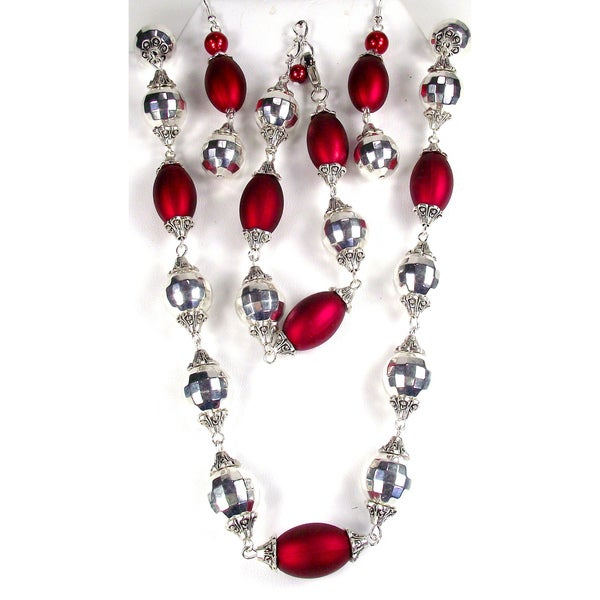 Silverplated Dark Red and Silver Crystal Wedding Jewelry Set