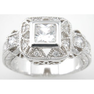 Plutus Sterling Silver .65 TCW Cubic Zirconia Princess Antique-style Pave Ring