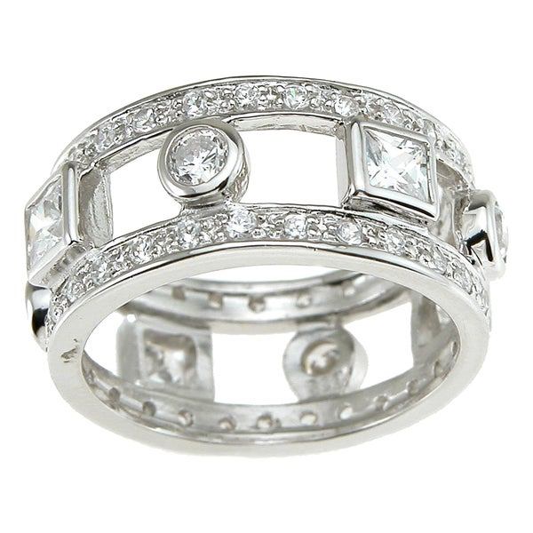 Plutus Sterling Silver Cubic Zirconia Eternity Engagement-style Band