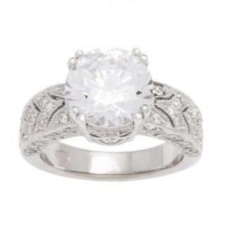 Plutus Sterling Silver 1/2 carat Cubic Zirconia Princess TGW 3 carats Art Deco Vintage Engagement Ring