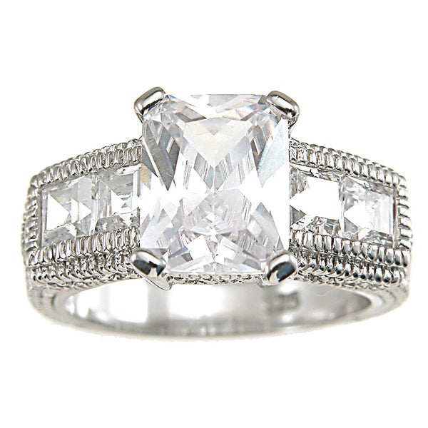 Plutus High Polish Rhodium Sterling Silver TCW 3 ct Cubic Zirconia Antique Engagement-style Ring