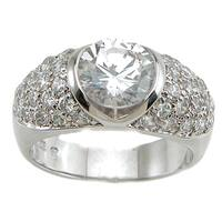 Plutus Sterling Silver Cubic Zirconia Anniversary Ring