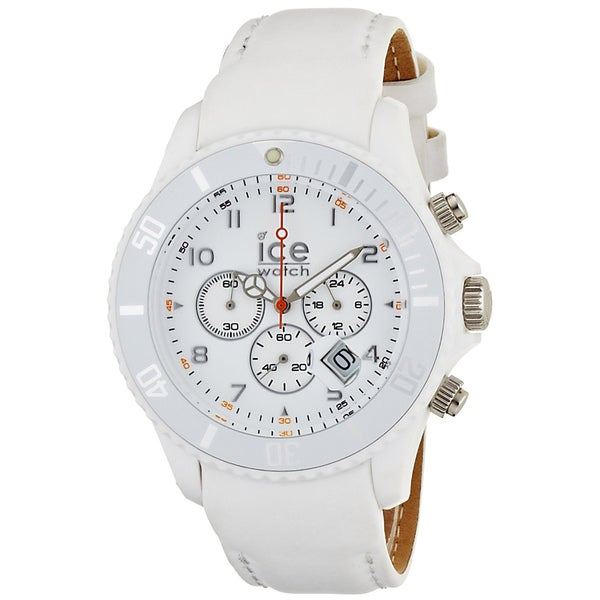 shop ice watch men 39 s white leather strap chrono watch. Black Bedroom Furniture Sets. Home Design Ideas