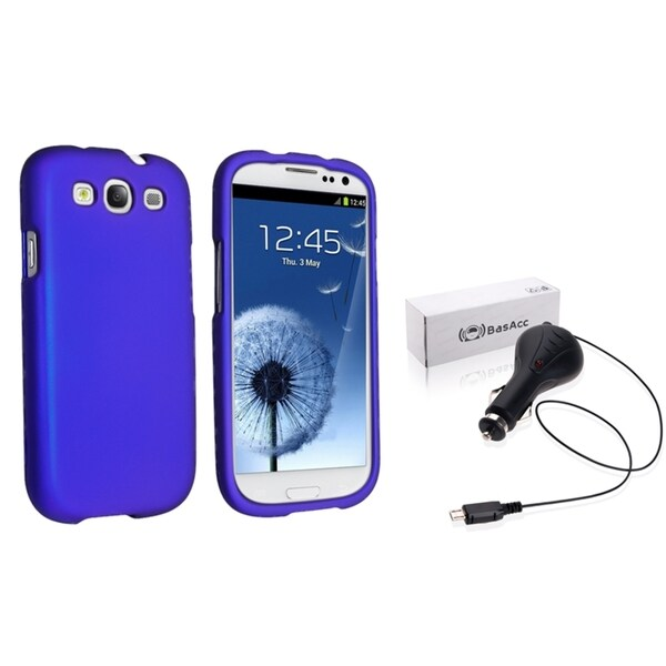 INSTEN Blue Phone Case Cover/ Retractable Car Charger for Samsung Galaxy S III/ S3