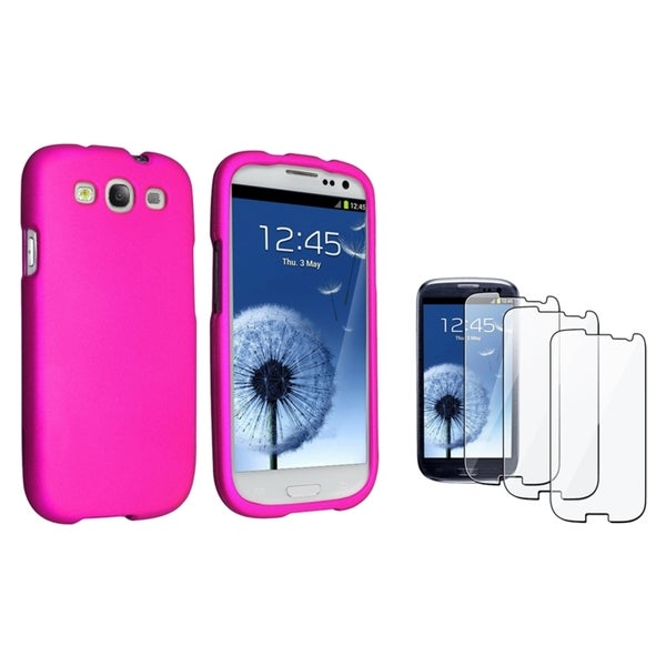 INSTEN Hot Pink Phone Case Cover/ Screen Protector for Samsung Galaxy S III/ S3