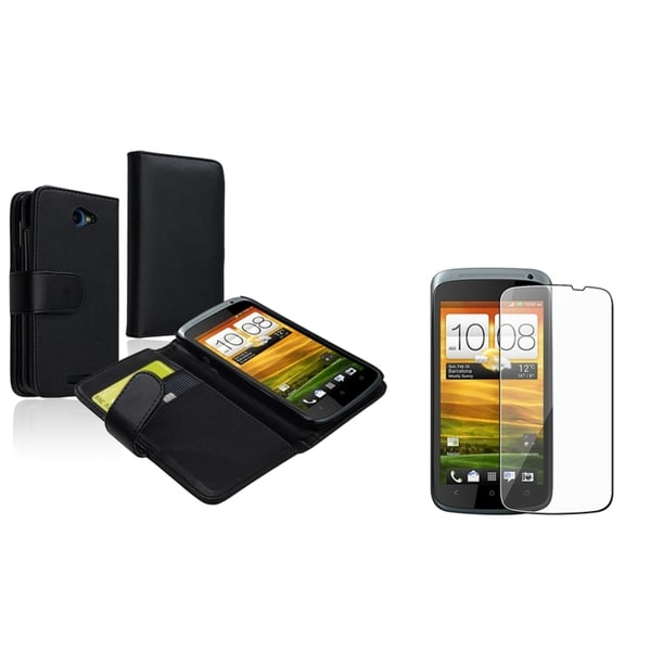 INSTEN Leather Wallet Phone Case Cover/ LCD Protector for HTC One S/ Ville