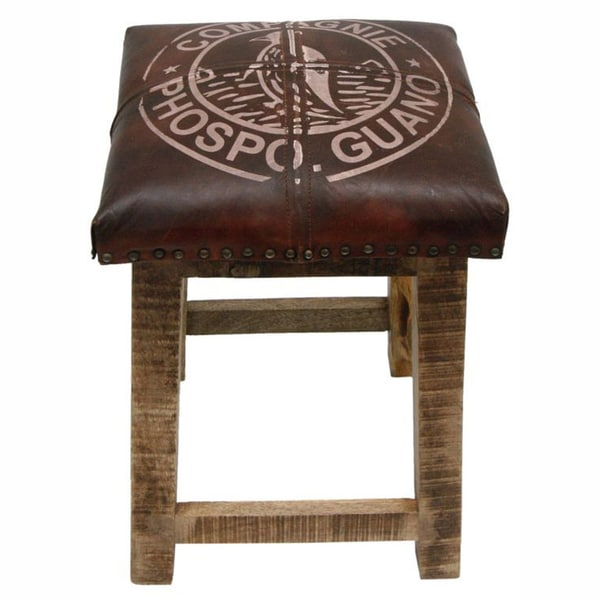 nuLOOM Casual Living Brown Leather / Wood Stool
