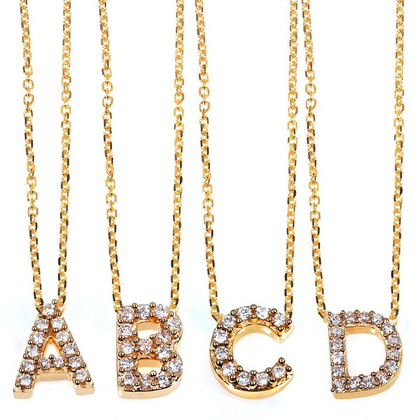 Annello by Kobelli 14k Yellow Gold Diamond Accent Mini Initial Letter Necklace