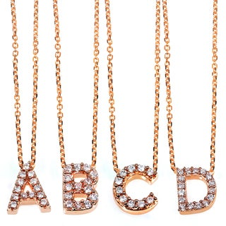 Annello by Kobelli 14k Rose Gold Diamond Accent Mini Initial Letter Necklace