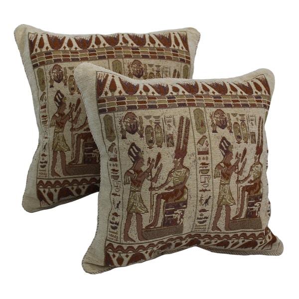 Chenille Throw Pillows Set Of 2 : Blazing Needles Egyptian Hieroglyphs Chenille Corded Throw Pillows (Set of 2) - Free Shipping On ...