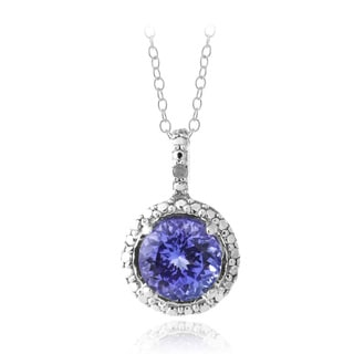 Glitzy Rocks Sterling SIlver Tanzanite and Diamond Accent Necklace