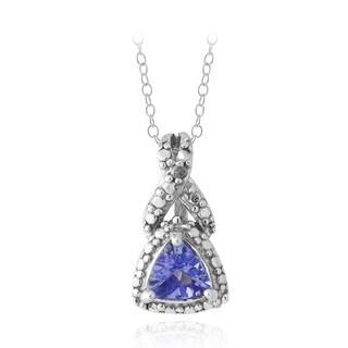 Glitzy Rocks Glizty Rocks Sterling Silver Tanzanite and Diamond Accent Necklace