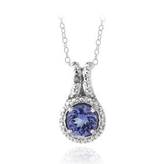 Glitzy Rocks Silver Tanzanite and Diamond Accent Necklace