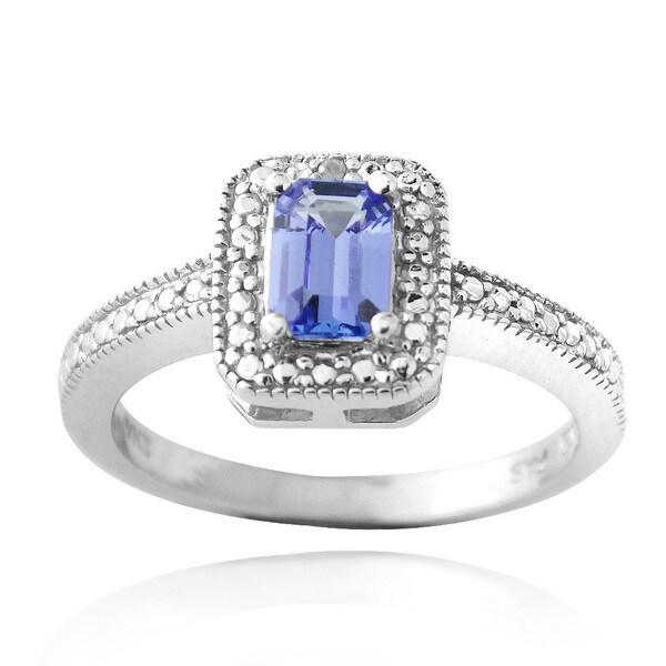 Glitzy Rocks Glitzy Rocks Sterling Silver Blue Tanzanite and Diamond Accent Ring