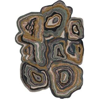 Hand-tufted Crump Green Novelty Wool Area Rug - 5' x 8'