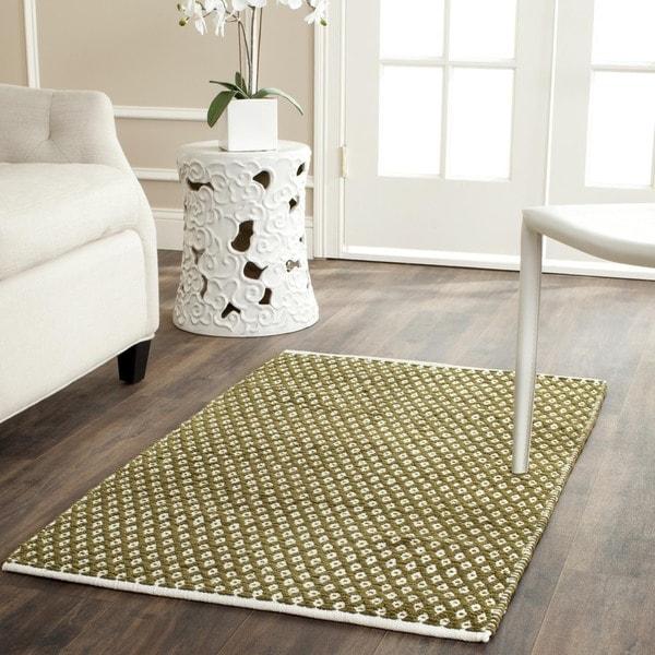 Safavieh Handmade Boston Flatweave Olive Green Cotton Rug (2'6 x 4')