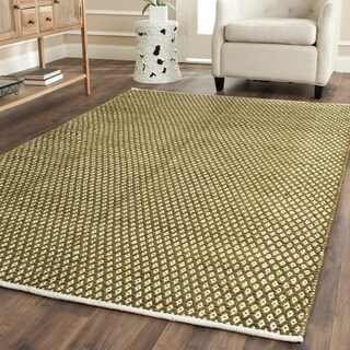 Safavieh Hand-loomed Moroccan Olive Cotton Rug (4'x 6')