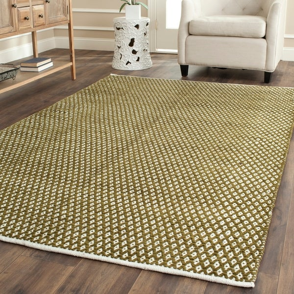 Safavieh Handmade Boston Flatweave Olive Green Cotton Rug - 8' x 10'