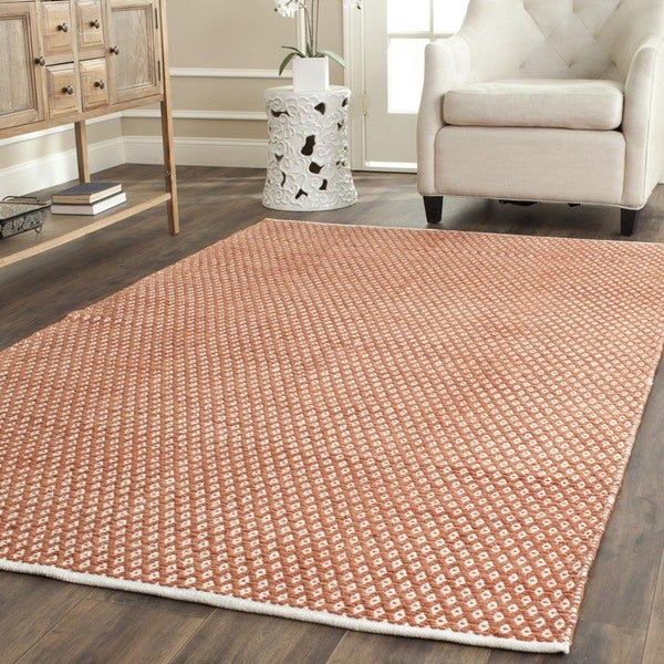 Safavieh Handmade Boston Flatweave Orange Cotton Rug (5'x 8')