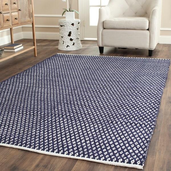 safavieh handmade boston flatweave navy blue cotton rug 4u0027 x 6u0027