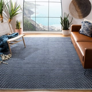 Safavieh Handmade Boston Flatweave Navy Blue Cotton Rug (5'x 8')