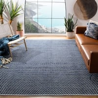 Safavieh Handmade Boston Reversible Flatweave Navy Blue Cotton Rug - 5' x 8'