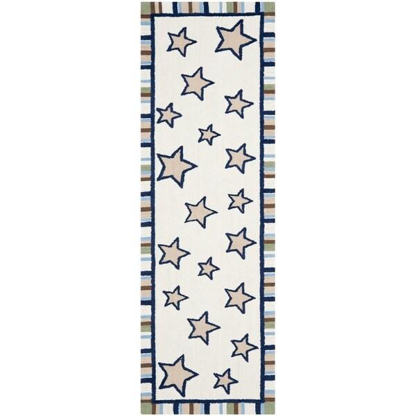 Safavieh Handmade Children's Stars Ivory Rug (2'3 x 8')