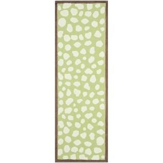 Safavieh Handmade Children's Safari Green/ Ivory Wool Rug (2'3 x 8')
