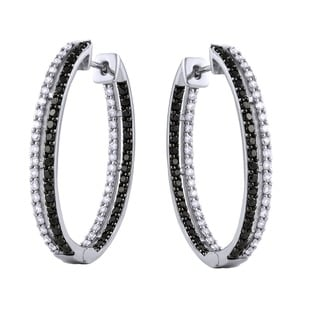 Beverly Hills Charm 14k Gold 2ct TDW Black and White Inside-Out Diamond Hoop Earrings