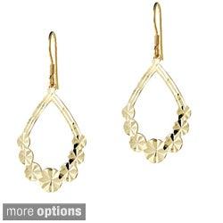 Mondevio Sterling Silver Detailed Flower Teardrop Dangle Earrings