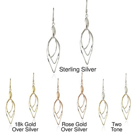 Mondevio Sterling Silver Leaf and Swirling Twist Dangle Earrings