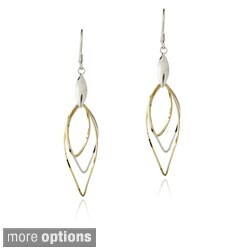 Mondevio Sterling Silver Leaf and Swirling Twist Dangle Earrings