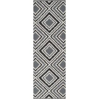 Hand-woven Velva Grey Wool Rug (2'6 x 8')