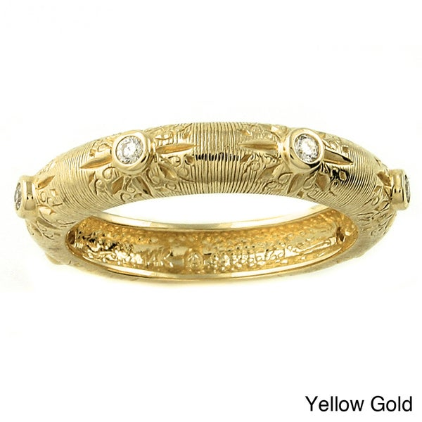 Beverly Hills Charm 14k Gold 1/8ct TDW Diamond Textured Stackable Band Ring