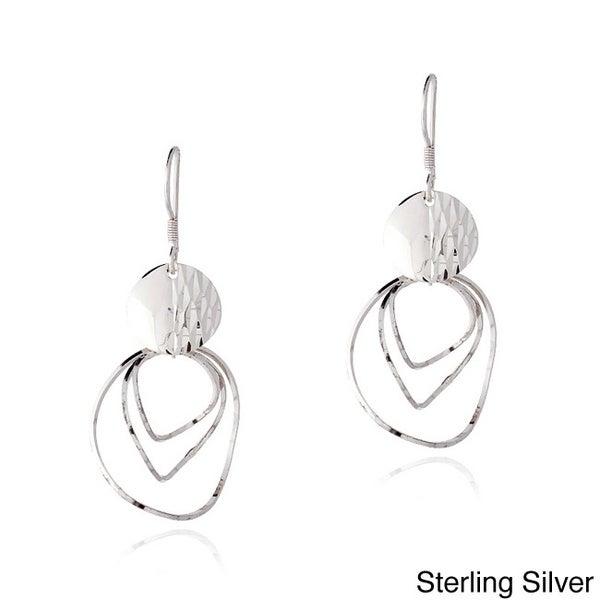 Mondevio Sterling Silver Swirl Twist Dangle Earrings