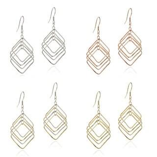 Mondevio Sterling Silver Diamond-shaped Link Dangle Earrings