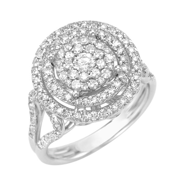 14k White Gold 5/8ct TDW Halo Diamond Ring (G, SI1)