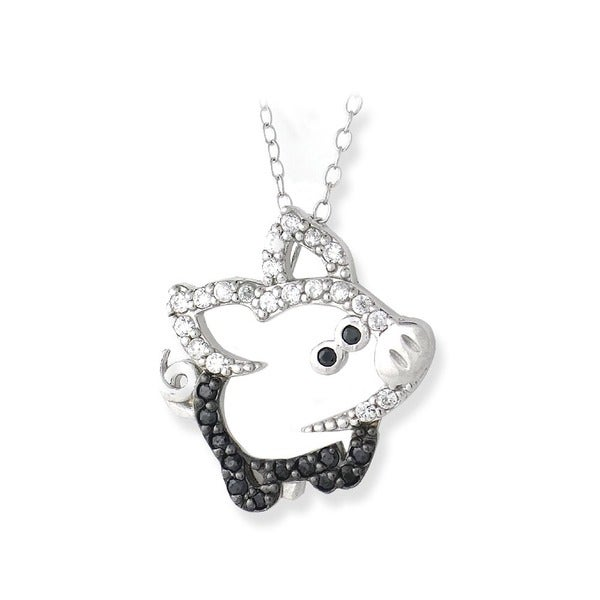 Icz stonez sterling silver black and white cubic zirconia pig icz stonez sterling silver black and white cubic zirconia pig necklace mozeypictures Gallery