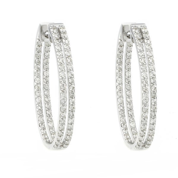 Beverly Hills Charm 14k Gold 2ct TDW Diamond Inside-out Oval Hoop Earrings (H-I, SI2-I1)