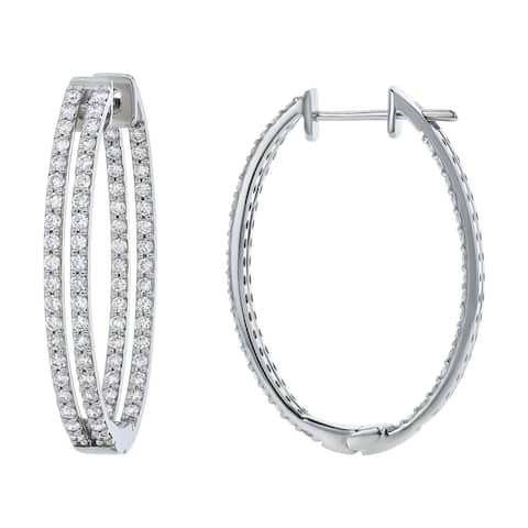 14k Gold 2 carats TDW Diamond Inside-out Two-Row Oval Hoop Earrings by Beverly Hills Charm