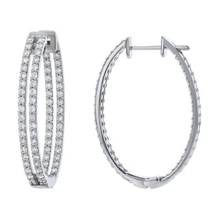 Beverly Hills Charm 14k Gold 2ct TDW Diamond Inside-out Oval Hoop Earrings