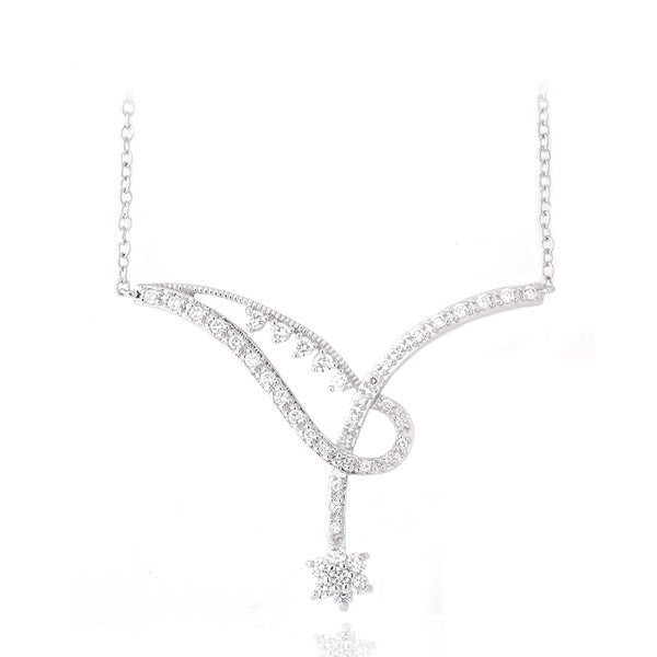 Icz Stonez Sterling Silver Cubic Zirconia Overlap Flower Necklace
