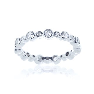 Blue Box Jewels Rhodium Plated Silver Round Cubic Zirconia Eternity Band
