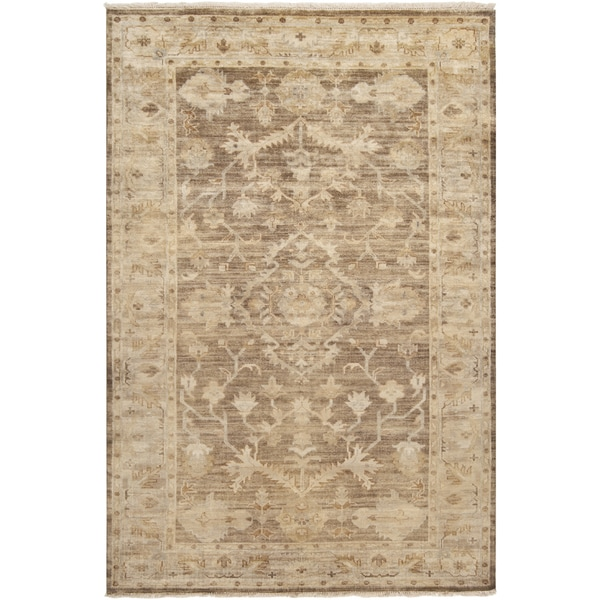 Hand-knotted Tinmouth Traditional Brown Wool Area Rug (8' x 11')